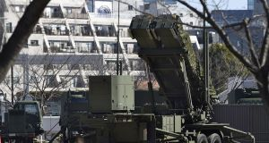 A PAC-3 Patriot missile unit deployed by the Japan Self-Defence Force at the defence ministry in Tokyo on Sunday. Photograph: Takuto Kaneko/Kyodo News via AP