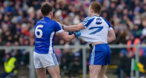 Monaghan's Colin Walshe and Conor Moynagh of Cavan. Photograph: Tom Beary/Inpho