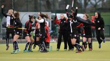 Cork Harlequins celebrate the final whistle after victory over Pegasus. Photograph: Rowland White/InphO/Presseye