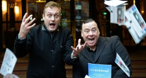 Comedian Mario Rosenstock and Justin Green, of Wide Awake Communications, at the launch of Let's Celebrate: The Cultural and Economic Contribution of Live Entertainment Events in Ireland. Photograph: Eric Luke