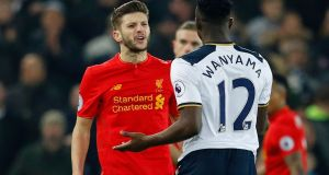 Liverpool's Adam Lallana clashed with Tottenham's Victor Wanyama at Anfield. Photograph: Phil Noble/Reuters