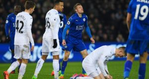Leicester's Jamie Vardy has failed to replicate last season's form  . Photograph: Stu Forster/Getty Images