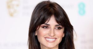 Presenter Penelope Cruz poses in the winners room during the 70th Bafta event in London. Photograph: Getty Images