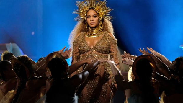 Beyoncé performing during the the 59th Grammy Awards in Los Angeles. Photograph: Larry Busacca/Getty Images for NARAS