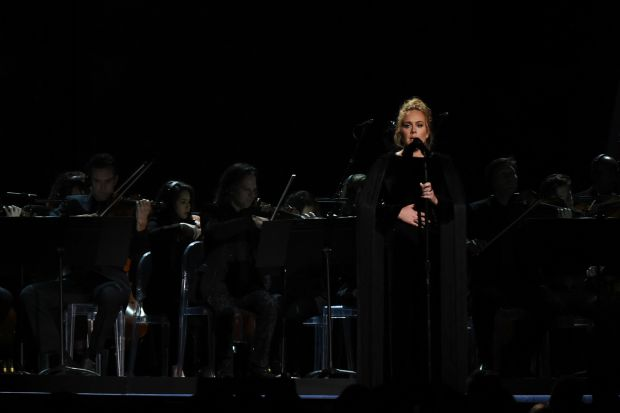 Adele performing a tribute to George Michael at the Grammys in Los Angeles. Photograph: Valerie Macon/AFP/Getty Images