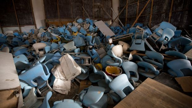 This February 2nd, 2017 photo shows seats jumbled in a pile inside Maracana stadium in Rio de Janeiro, Brazil. The historic stadium, site of the opening and closing ceremony, has been vandalized as stadium operators, the Rio state government, and Olympic organizers, have fought over $1 million in unpaid electricity bills and management of the venue. Photo: Silvia Izquierdo/AP