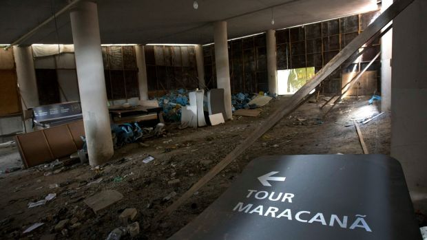 This February 2nd, 2017 photo shows the inside of Maracana stadium in Rio de Janeiro, Brazil. The stadium was renovated for the 2014 World Cup at a cost of about $500 million, and largely abandoned after the Olympics and Paralympics, then hit by vandals who ripped out thousands of seats and stole televisions. Photo: Silvia Izquierdo/AP