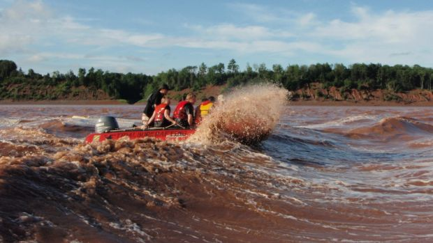 Nova Scotia's Bay of Fundy is famous for its tidal bores, which twice daily transform otherwise calm and peaceful rivers into raging rapids.