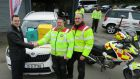 Annesley Williams car dealership sales manager Paul Connolly with Blood Bikes East volunteers Brendan Conroy and Franco De Bonis. For the last two years the charity has used a Skoda Yeti SUV which was sponsored by the dealership