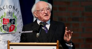 "President Michael D Higgins speaking  at the National University of Colombia in Bogotá on Monday, where he read Michael Longley's poem ""Ceasefire"". Photograph: Leonardo Munoz/EPA"