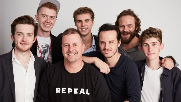 Writer-director John Butler, centre, with the cast of 'Handsome Devil' – Jamie Hallahan, Eoin Griffin, Jay Duffy, Andrew Scott, Moe Dunford and Finn O'Shea. Photograph: Maarten de Boer/Getty Images