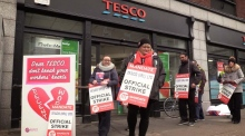 Strike action underway at eight Tesco stores nationwide