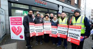 Tesco workers on strike duty in Baggot Street joined by AAA-PBP TD's Brid Smith, Richard Boyd Barrett, Gino Kenny, Mick Barry,Paul Murphy Ruth Coppinger Cllr John Lyons. Photograph: Cyril Byrne