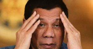 Philippine president Rodrigo Duterte: widely questioned about whether his abuse of the pain relief drug fentanyl following a motorcycle accident  constitutes an addiction. Photograph: Ezra Acayan/Reuters