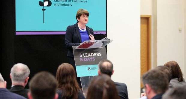 DUP leader Arlene Foster , speaking at the Northern Ireland Chamber's 5 Leaders; 5 Days
