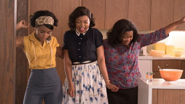 Mary Jackson (Janelle Monae), Katherine Johnson (Taraji P. Henson) and Dorothy Vaughn (Octavia Spencer) celebrate their stunning achievements in one of the greatest operations in history. Photograph: Hopper Stone