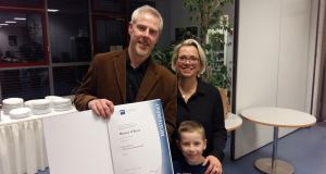 Marcus O'Brien with his wife Gaby and son Till. He recently become the first Irish person and the first native English speaker to be admitted into the German Guild of Medical Technology.