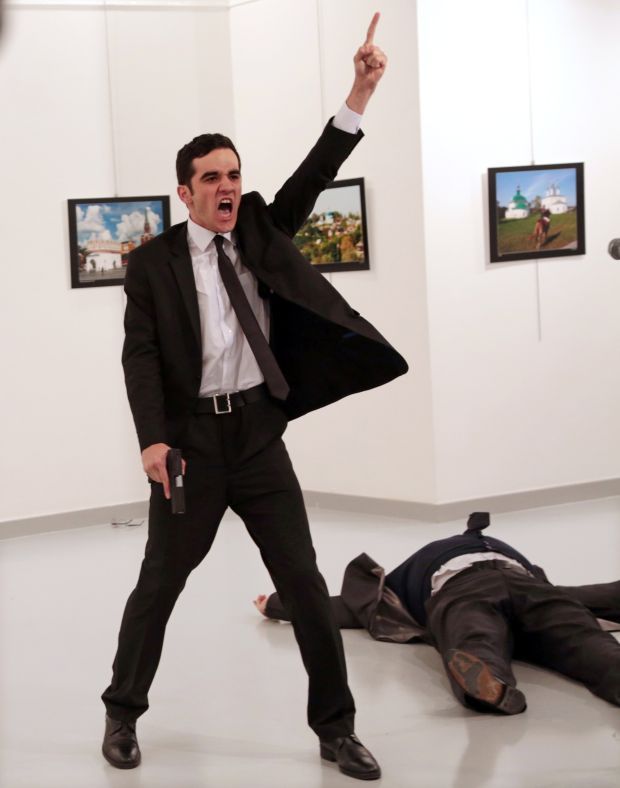 World Press Photo of the year: photographer Burhan Ozbilici captured the assassination of Andrey Karlov, Russian ambassador to Turkey, at an art exhibition in Ankara, Turkey, in December 2016.
