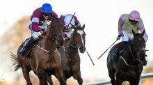 Outlander (left), with Jack Kennedy up, on their way to winning The Lexus Steeplechase during the  Leopardstown Christmas Festival. Photograph:  Cody Glenn/Sportsfile via Getty Images