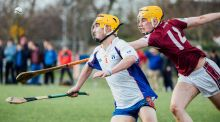 Marys I's Colm Galvin and NUIG's Sam Conlon in action during the Fitzgibbon Cup quarter-final at   Mary Immaculate Collage in Limerick. Photograph:  Brian Arthur