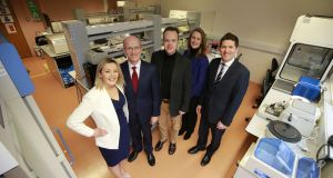 Dawn Walsh of Kernel Capital; Des O'Leary, CEO of OncoMark; Prof William Gallagher, co-founder of OncoMark; Deirdre Glenn, manager of the life sciences sector at Enterprise Ireland; and Kevin Healy of corporate banking at Bank of Ireland