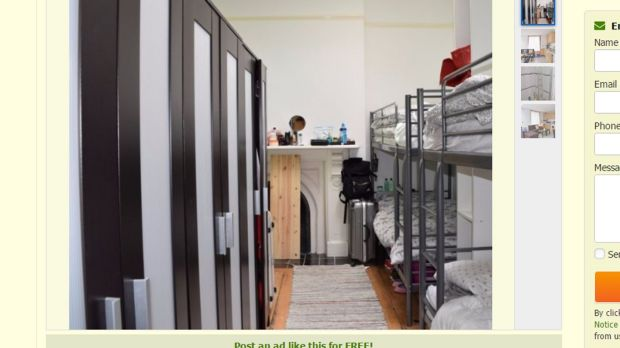 A screengrab from an advertisement on the Gumtree website for the house in Portobello in Dublin, in which up to 16 young women have been living in three bedrooms.