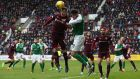 Hearts' Aaron Hughes and Hibernians' Brian Graham battle for a header during a Scottish Cup match at Tynecastle earlier this month. File photograph: Ian MacNicol/Getty Images