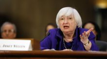 Janet Yellen, chair of the US Federal Reserve peaks during a Senate Banking, Housing, and Urban Affairs Committee hearing in Washington DC on Wednesday. Photograph: Bloomberg