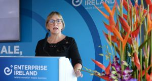 Julie Sinnamon, CEO of Enterprise Ireland, speaking at the agency's End of Year statement 2016 and the launch of its 2017-2020 strategy. Photograph: Dara Mac Dónaill