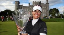 Four-time Ladies Irish Open winner Sophie Gustafson with the trophy after her victory at Killeen Castle in 2010. The tournament hasn't been played since 2012. Photograph: Inpho/Cathal Noonan