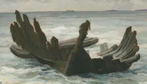 Mayo shipwreck: the twisted timbers after storms exposed them at Thallabawn in 1983. Painting: Michael Viney