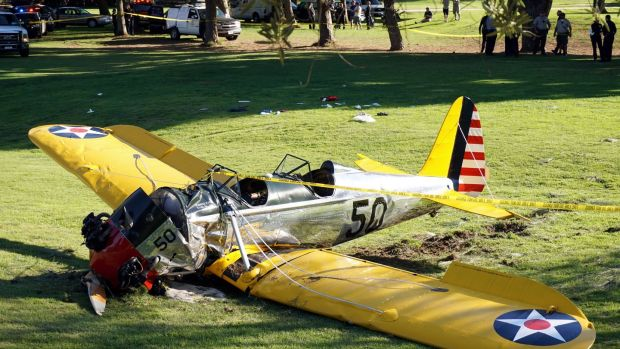 Harrison Ford crash-landed a second World War training plane on a Los Angeles golf course in 2015. Photograph: Damian Dovarganes/AFP