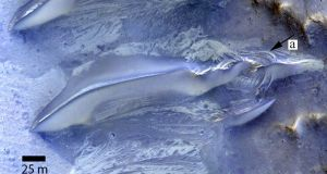 Striations exposed on the surface between dunes are also indications of fluctuating levels of salty groundwater. Photograph: Trinity College