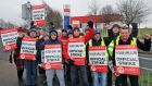Striking Tesco workers and Mandate Trade Union members pictured  on the picket line at Tesco, Clearwater, in Finglas, Dublin. Photograph: Collins