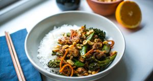 Orange and five spice sticky chicken stir fry