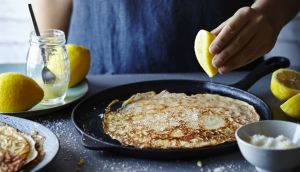 Lemon crunch pancakes from a new book, Flipping Good!