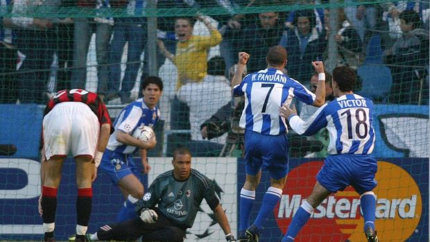 Deportivo La Coruna players celebrate after Walter Pandiani opened the scoring against AC Milan in their Champins League win in 2004. Photo: Getty Images