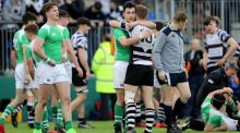 Gonzaga's Michael O'Kennedy with Conor Kelly of Roscrea after the game. Photograph: Dan Sheridan/Inpho