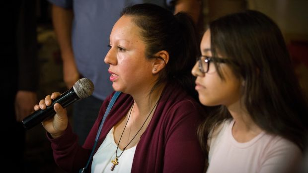 Guadalupe 'Lupita' García de Rayos, who was deported from the United States after 21 years, with her daughter Jacqueline in Nogales, Mexico. Photograph: Caitlin O'Hara/The New York Times