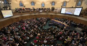 The Church of England general synod at Church House in London, where a document upholding church teaching on same-sex marriage was narrowly defeated. Photograph: Daniel Leal-Olivas/AFP/Getty Images