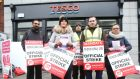 "Tesco strike: workers picket outside the firm's  store on Baggot Street. The retailer has said it is  ""shocked""   by   Mandate's reluctance to accept  Labour  Court  recommendations made in November. Photo: RollingNews.ie"