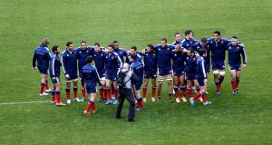 The French team before  facing Ireland in 2014. Photograph: Inpho