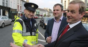 Taoiseach Enda Kenny meets Garda whistleblower Maurice McCabe while  canvassing for Fine Gael candidate Gabrielle McFadden in the Longford-Westmeath byelection in 2014. Photograph: Séamus Kiernan/Westmeath Topic