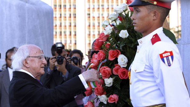 Michael D Higgins participates in a floral tribute at the José Marti Memorial in Havana, on Thursday. Photograph: Enesto Mastrascusa/EPA