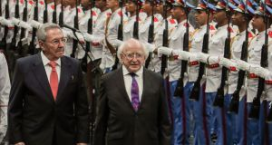 Michael D  Higgins and Raul Castro had a 'warm, long and comprehensive' discussion on the first day of his three day visit. Photograph: Adalberto Roquedal/AFP/Getty Images