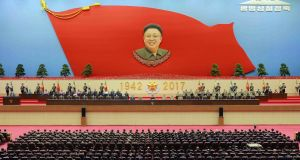 On Thursday, North Korea celebrated the 75th birthday of Kim Jong-il, known as the Day of the Shining Star. Photograph: STR/AFP/Getty Images