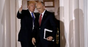 US President Donald Trump with Andrew Puzder, who has withdrawn his nomination for labour secretary. File photograph: Mike Segar/Reuters