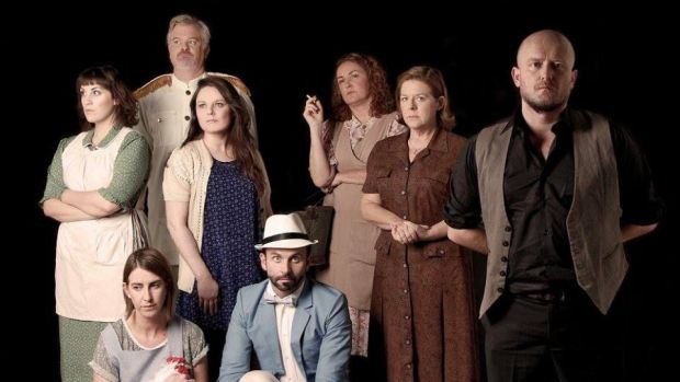 The cast of Danú Dubai's production of Brian Friel's play Dancing at Lughnasa.