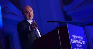 Pierre Moscovici,  European commissioner for economic and financial affairs: he appeared to see a silver lining in Brexit, arguing that it would make the group of EU member states not in the euro zone  smaller. Photograph: Dara Mac Dónaill