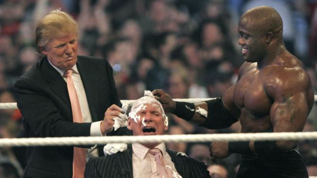 Trump shaves the head of WWE chairman Vince McMahon at an event in 2007. Photo: Bill Pugliano/Getty Images